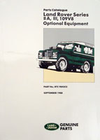 Land Rover Series IIA, III & 109-inch Stage-1 V8 Optional Equipment Parts Catalogue -  -