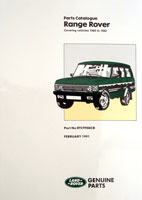 Range Rover 1986-1991 Parts Book