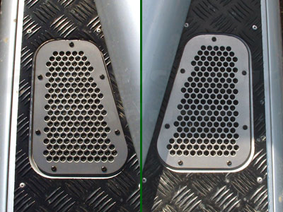 FF004133 - Stainless Steel Wing-Top Air Intake Grilles - Land Rover 90/110 and Defender