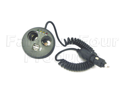 Picture of FF008069 - 12v Twin MultiSocket cigar lighter socket with Twin USB Ports