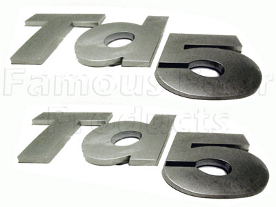 FF008634 - Badge - Td5 - Titanium Silver 3D Raised - Land Rover 90/110 and Defender