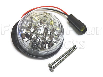 FF009168 - Rear Stop/Tail Lamp - Clear - 3 inch diameter - LED - Land Rover Series IIA/III