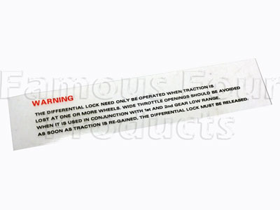 Differential Lock Warning Label - Windscreen