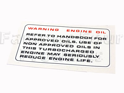 Slam Panel Decal - Warning Engine Oil