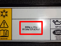 Air Conditioning information lable showin R134a gas type on a Land Rover